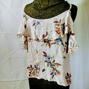14th & union floral cold shoulder ruffle blouse